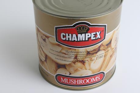 Champignon, snitter, stor dåse